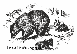 Clipart bear mother with children