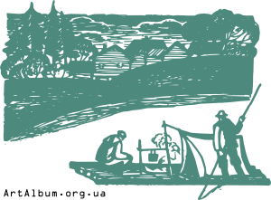 Clipart landscape with fishermen