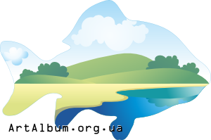 Clipart Landscape in silhouette of fish