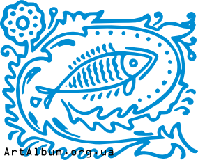 Clipart ornament with fish