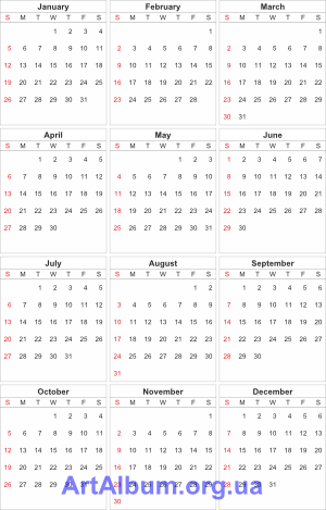 Clipart calendar grid 3x4 for 2014 (English)