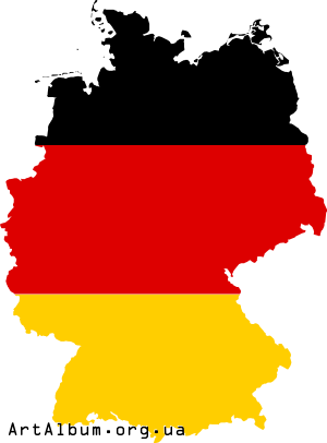 Clipart map of Germany (Deutschland) with flag